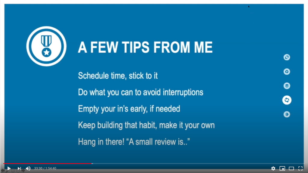Tips til Ugentlig Gennemgang - screenshot fra video